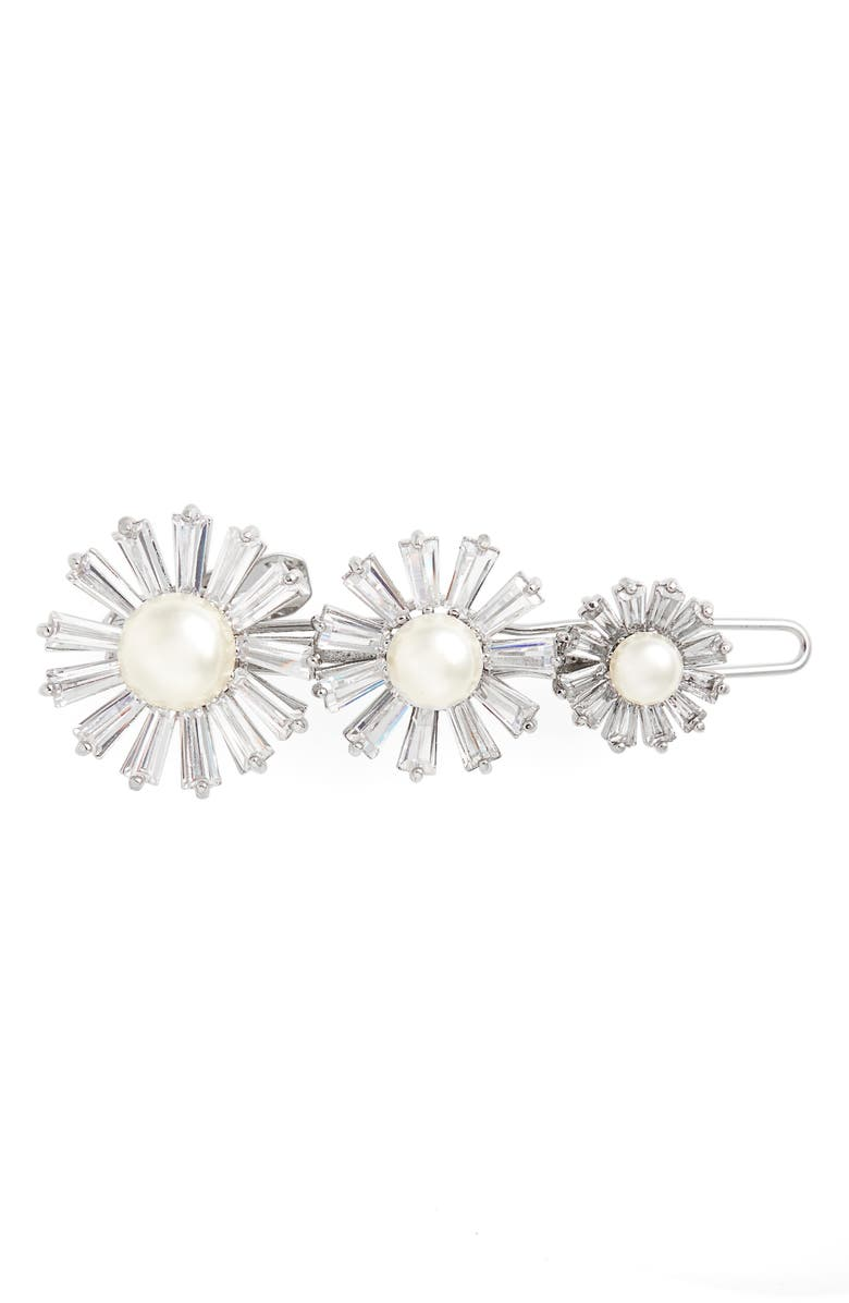 TASHA Floral Cubic Zirconia & Imitation Pearl Barrette, Main, color, 040