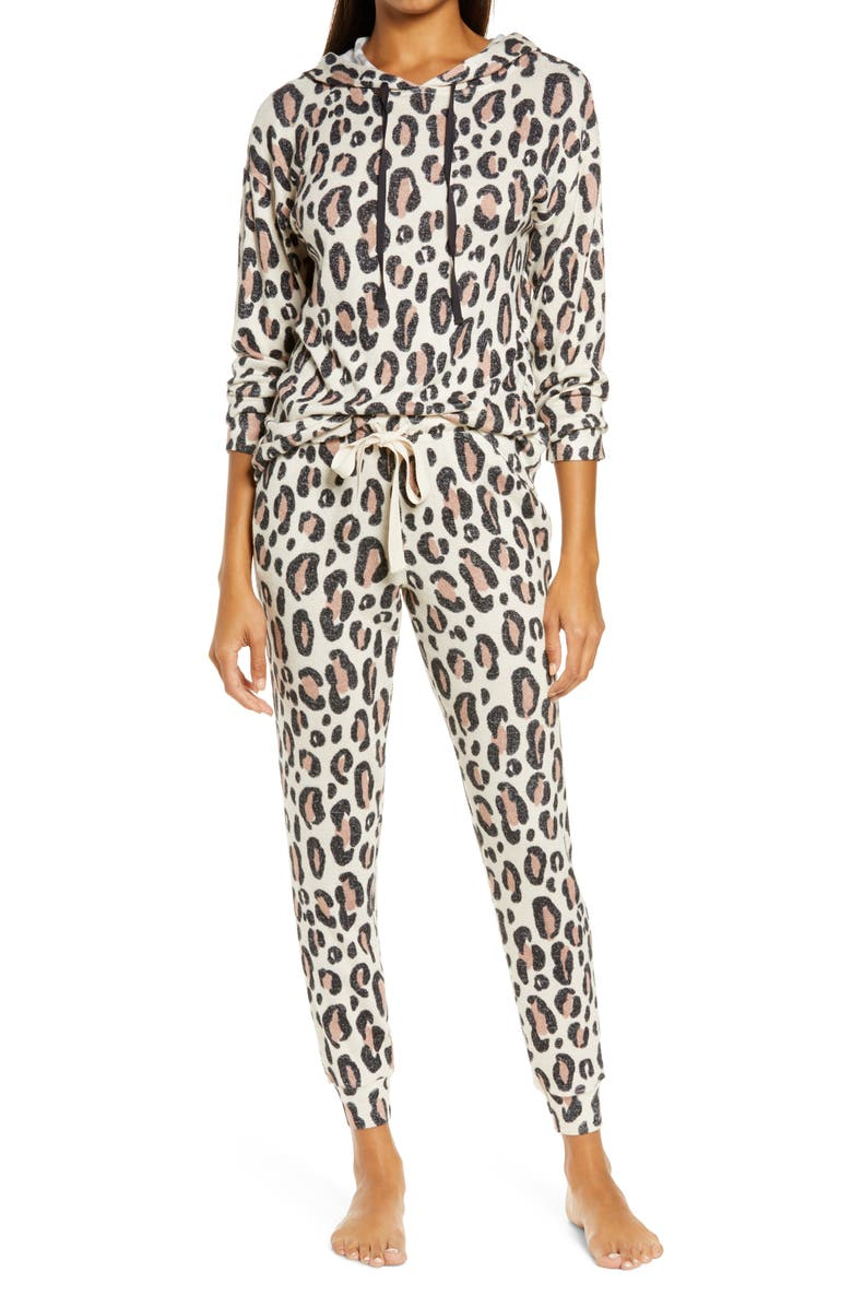 EMERSON ROAD Hoodie Jogger Pajamas, Main, color, MOHAIR LEOPARD OATMEAL