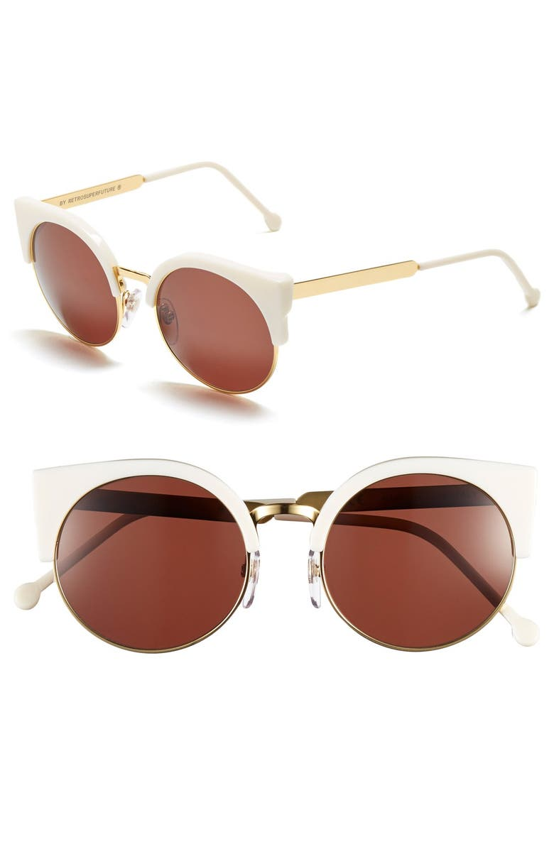 SUPER BY RETROSUPERFUTURE<SUP>®</SUP> 'Lucia' 53mm Sunglasses, Main, color, WHITE/ GOLD METAL