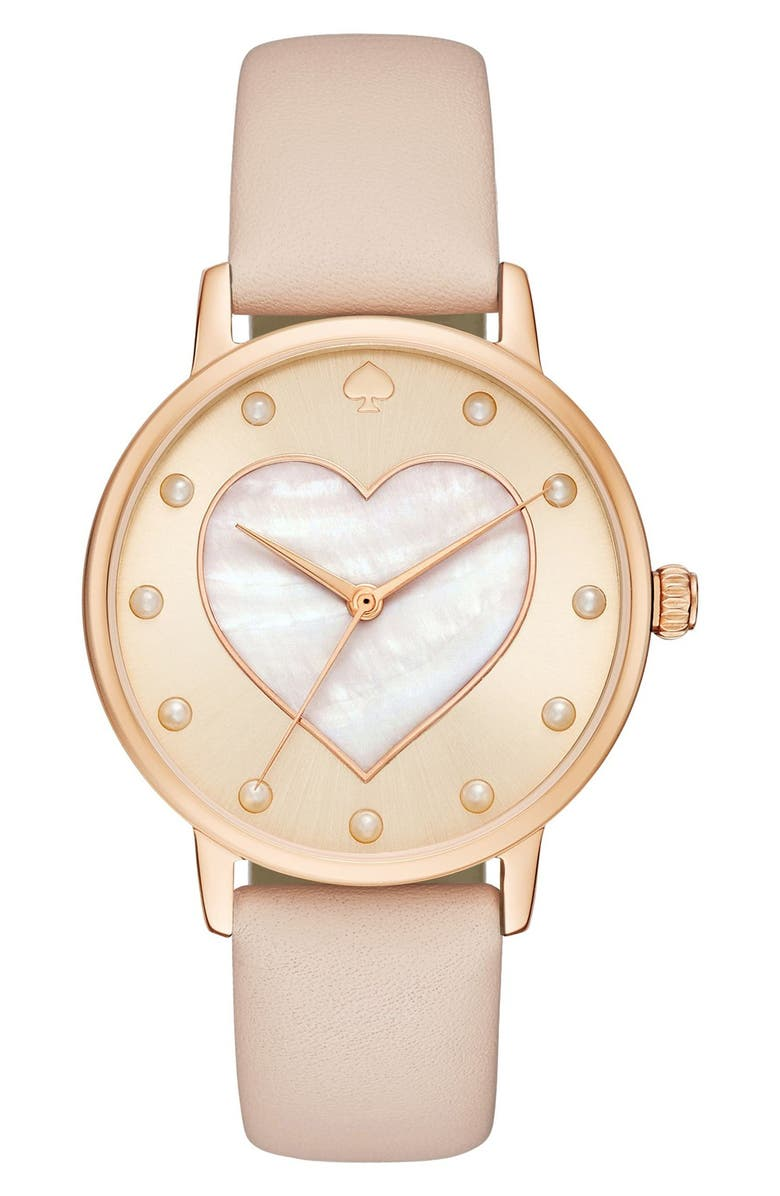 KATE SPADE NEW YORK metro mother-of-pearl heart watch, 34mm, Main, color, VACHETTA/ MOTHER OF PEARL