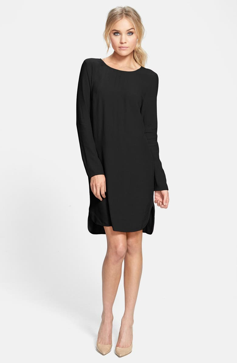 WAYF Long Sleeve Crepe Shift Dress, Main, color, 001