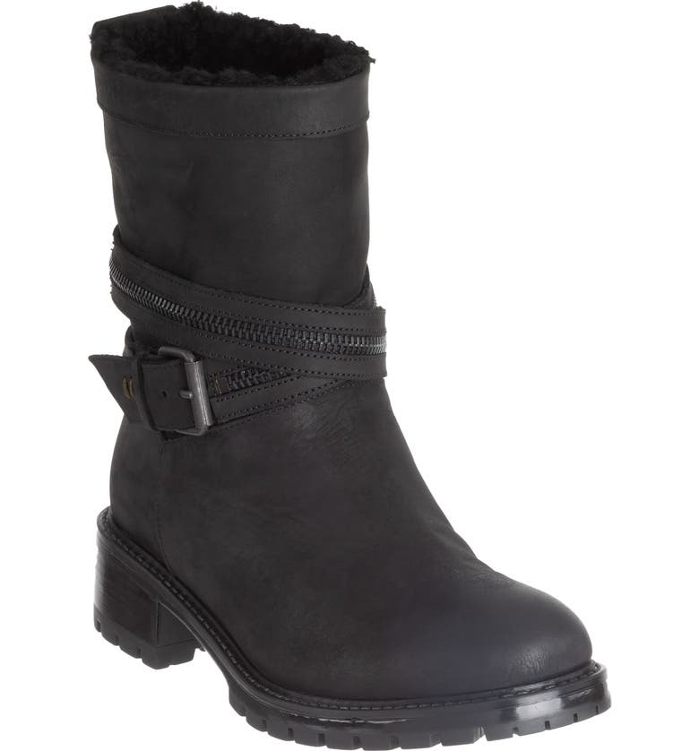 ROSS & SNOW Cristiana Genuine Shearling Lined Moto Boot, Main, color, BLACK LEATHER