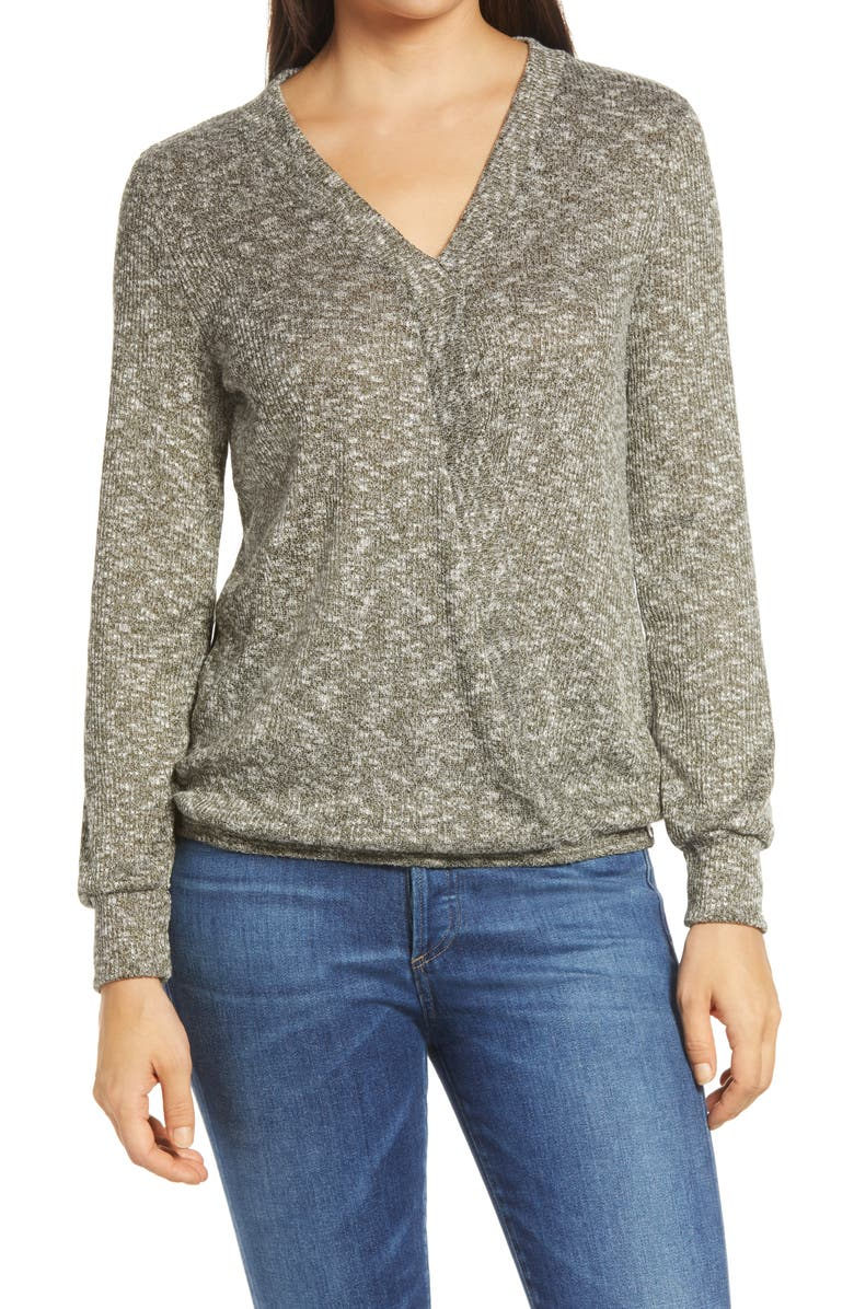 BOBEAU Hacci Rib Top, Main, color, OLIVE