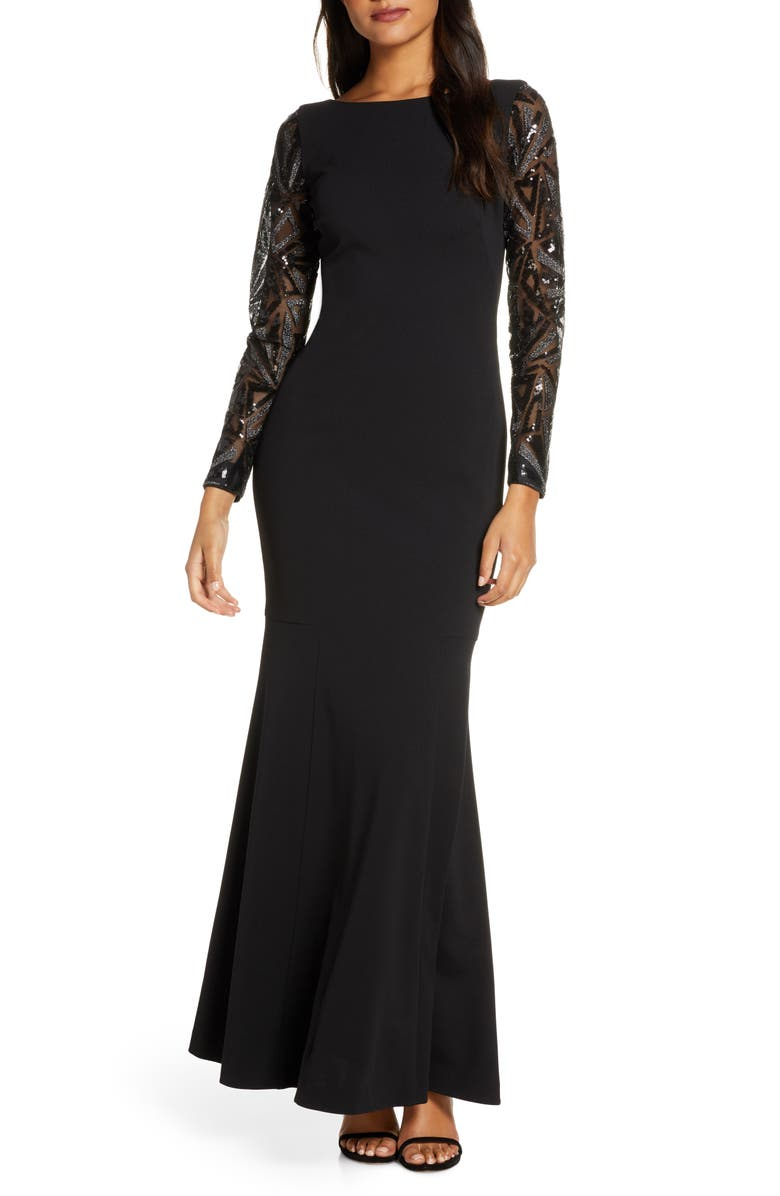 VINCE CAMUTO Sequin Detail Long Sleeve Mermaid Evening Gown, Main, color, 001