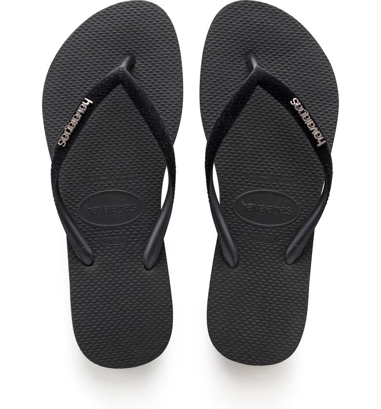 HAVAIANAS Slim Velvet Flip Flop, Main, color, BLACK