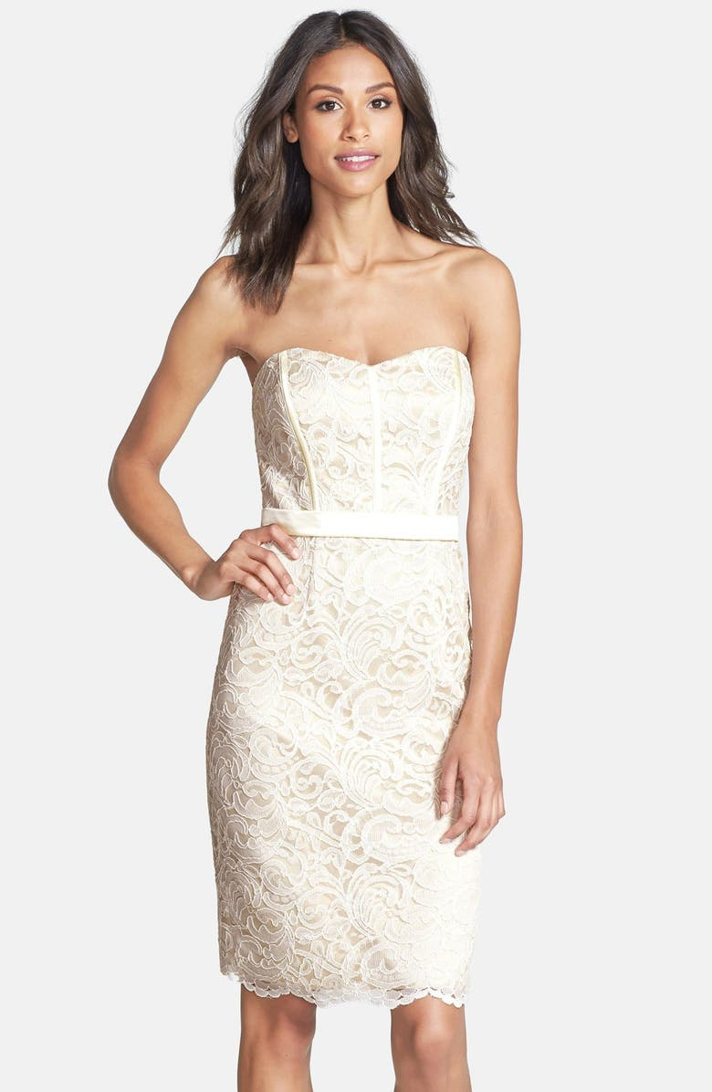 DESSY COLLECTION Strapless Lace Overlay Matte Satin Dress, Main, color, IVORY/ PALOMINO