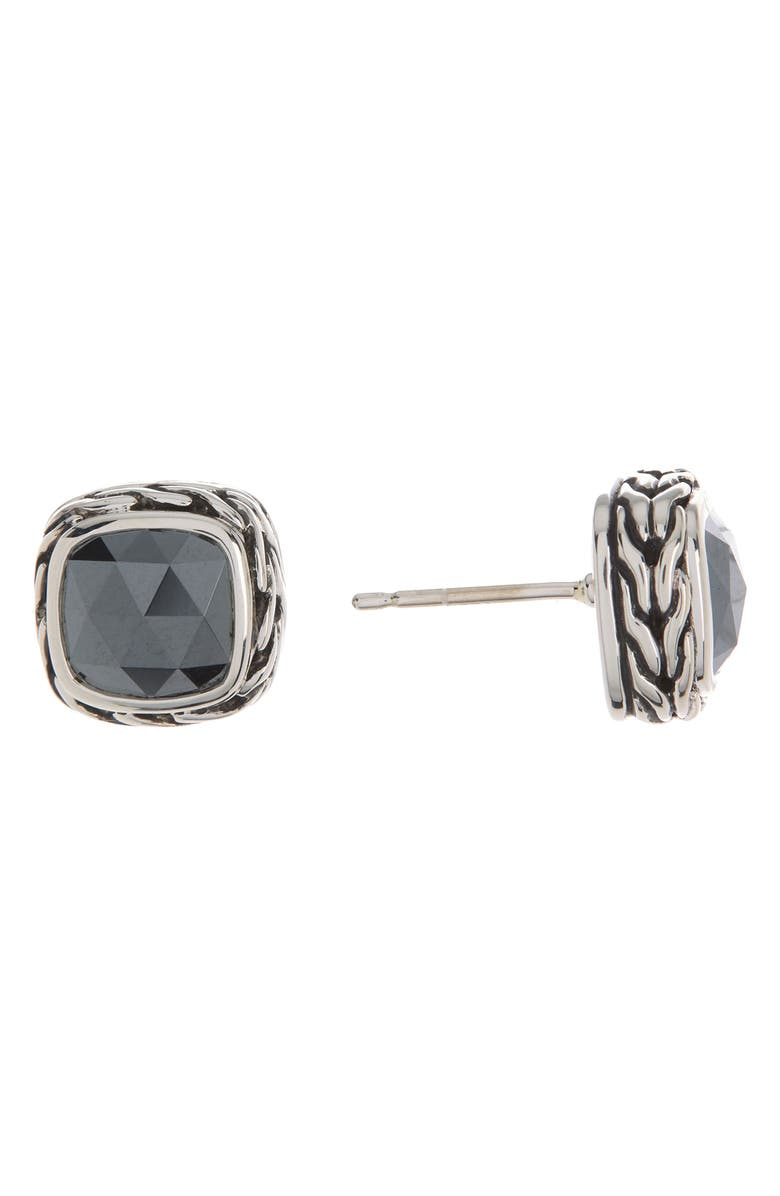 JOHN HARDY Classic Chain Sterling Silver Hematite Cushion Stud Earrings, Main, color, SILVER