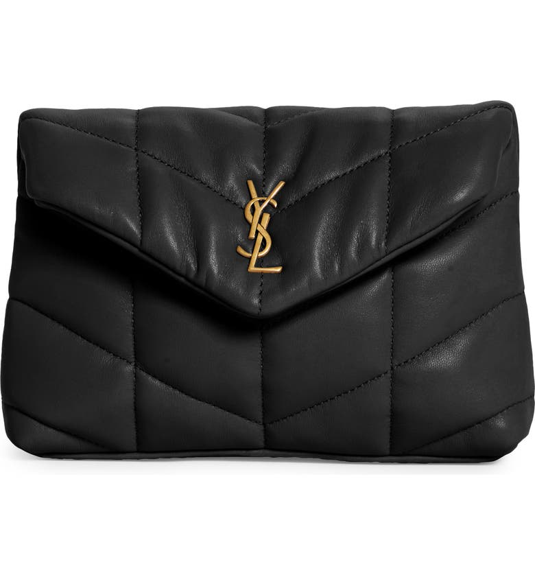 SAINT LAURENT Small Lou Leather Puffer Clutch, Main, color, NERO