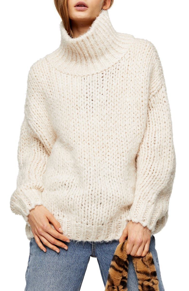 TOPSHOP Chunky Funnel Sweater, Main, color, 251