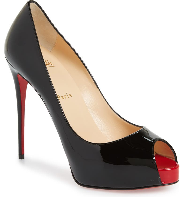 CHRISTIAN LOUBOUTIN Privé Open Toe Pump, Main, color, BLACK/ RED