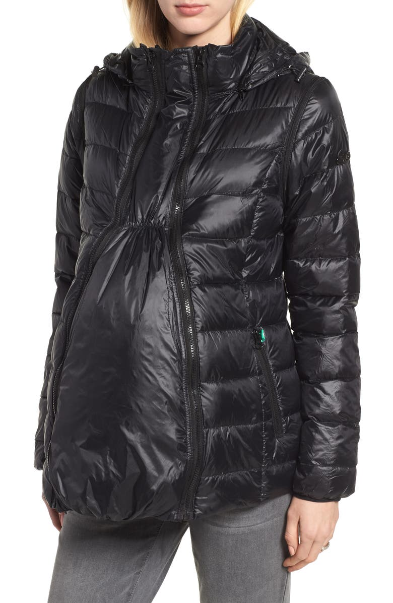MODERN ETERNITY Lightweight Puffer Convertible 3-in-1 Maternity Jacket, Main, color, Black