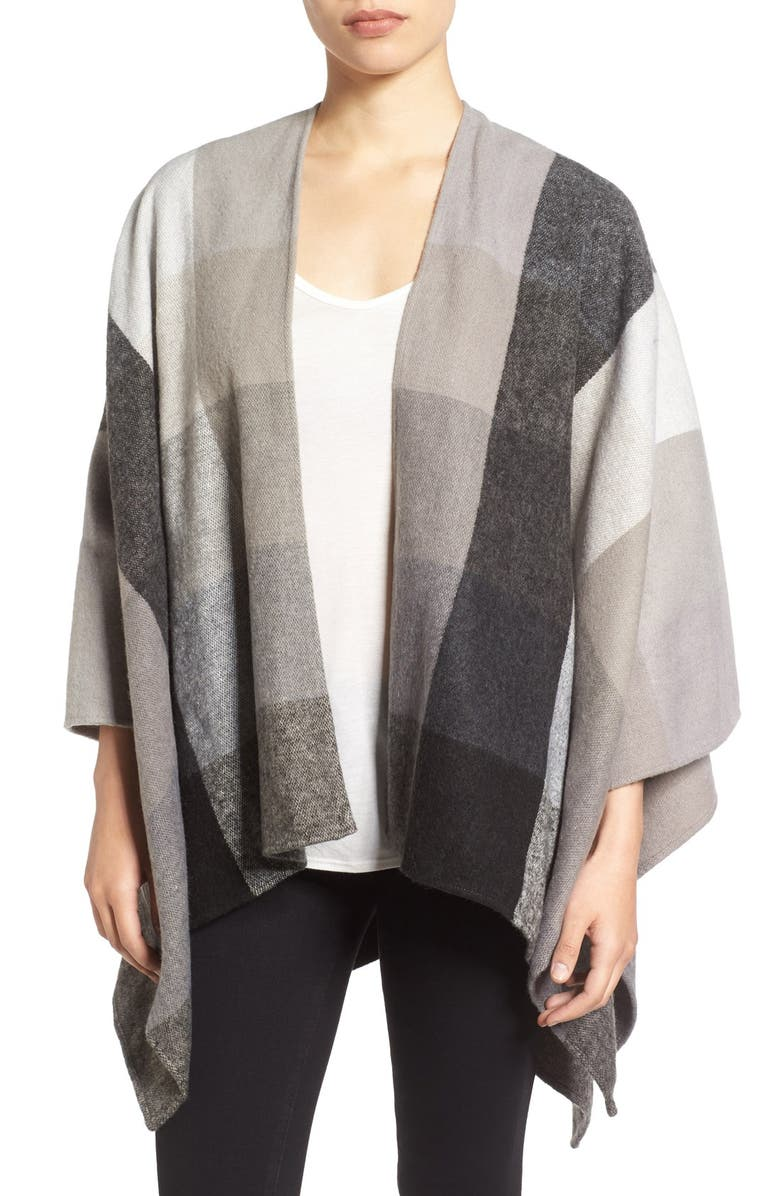 NORDSTROM Check Woven Poncho, Main, color, 001