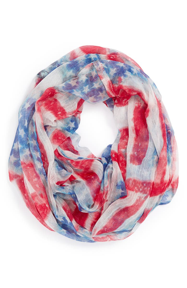 COLLECTION XIIX 'Stars & Stripes' Infinity Scarf, Main, color, RED/ WHITE/ BLUE
