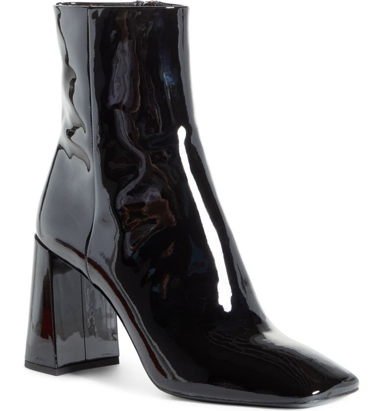 PRADA Block Heel Patent Leather Bootie, Main, color, 001