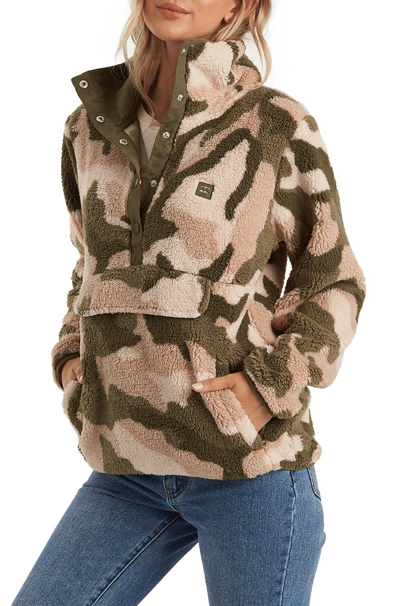 BILLABONG Switchback Faux Shearling Pullover, Main, color, ACM