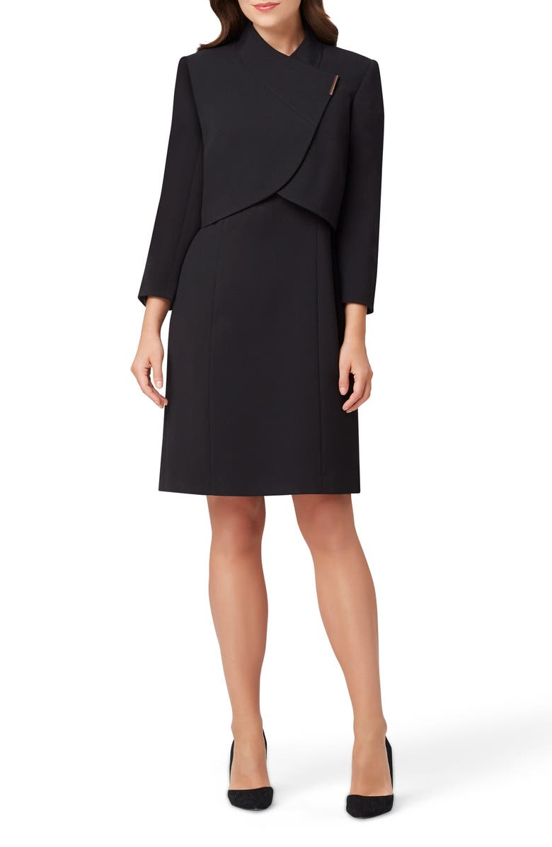 TAHARI Sheath Dress & Cropped Jacket, Main, color, 001