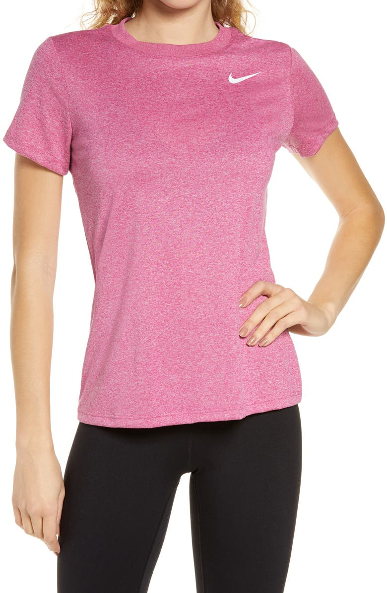 NIKE Dry Legend Training Tee, Main, color, FIREBERRY/ CHAMPAGNE