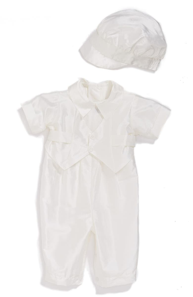 LITTLE THINGS MEAN A LOT Silk Dupioni Romper and Hat Set, Main, color, White