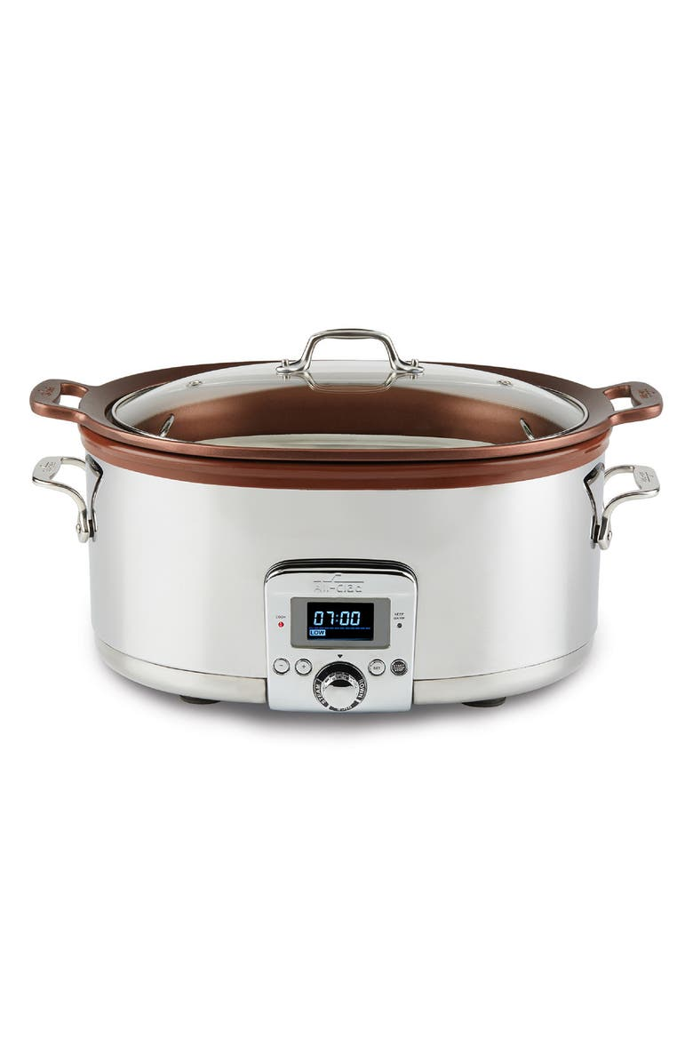 ALL-CLAD Gourmet 7-Quart Slow Cooker, Main, color, SILVER
