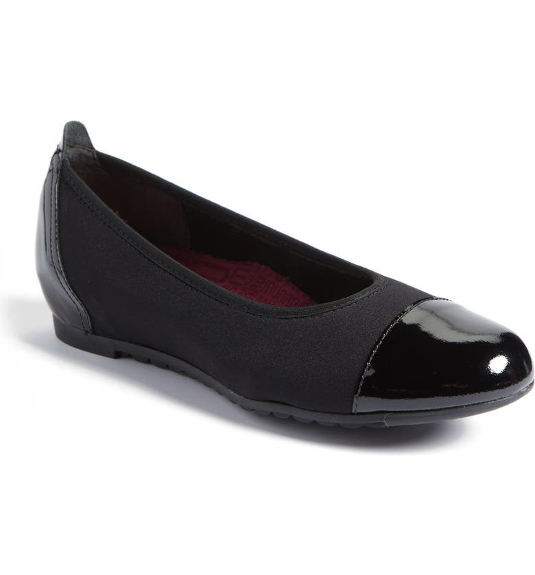 MUNRO Henlee Cap Toe Flat, Main, color, BLACK FABRIC
