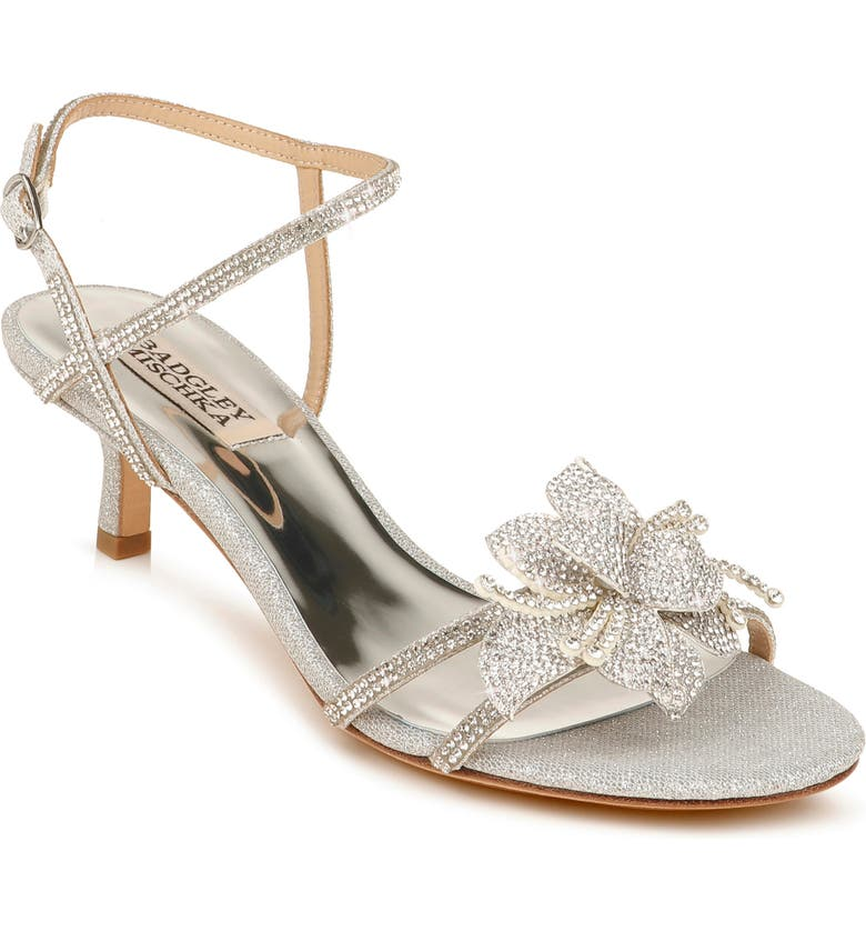 BADGLEY MISCHKA COLLECTION Gianna Crystal Embellished Strappy Sandal, Main, color, SILVER GLITTER