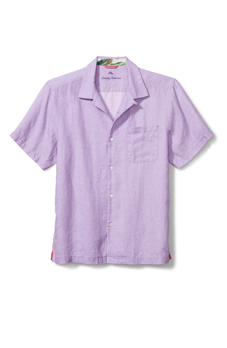 TOMMY BAHAMA Sea Glass Short Sleeve Button-Up Linen Camp Shirt, Main, color, VIOLET TULIP