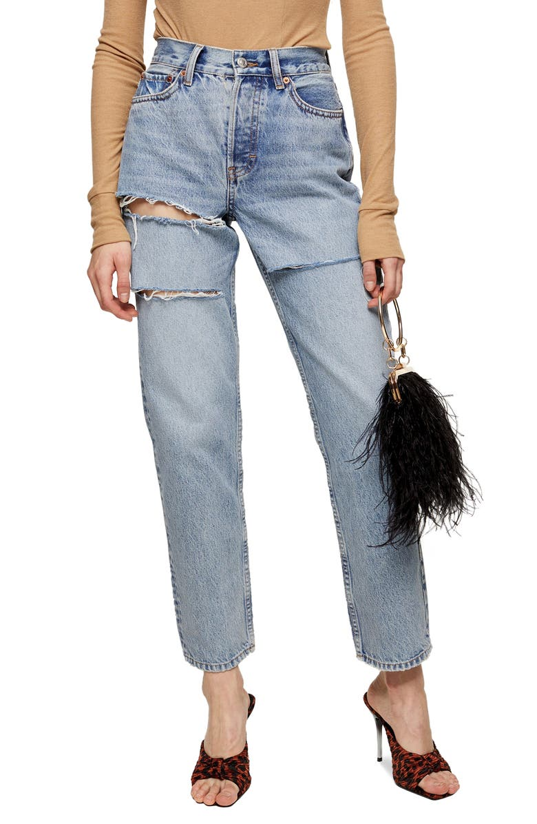 TOPSHOP Sofia Ripped High Waist Dad Jeans, Main, color, BLEACH