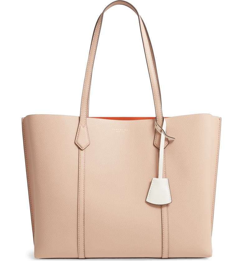 TORY BURCH Perry Leather Tote, Main, color, DEVON SAND