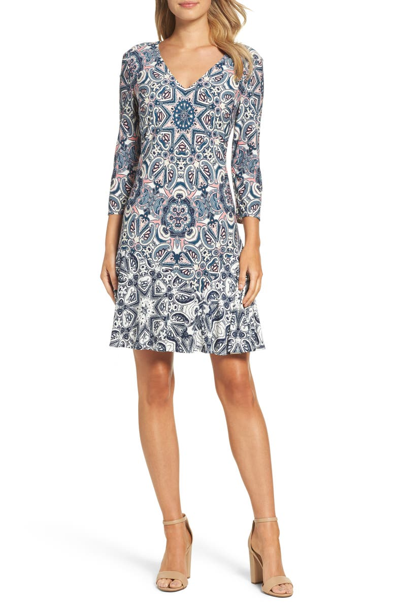 ELIZA J Print Knit A-Line Minidress, Main, color, 404