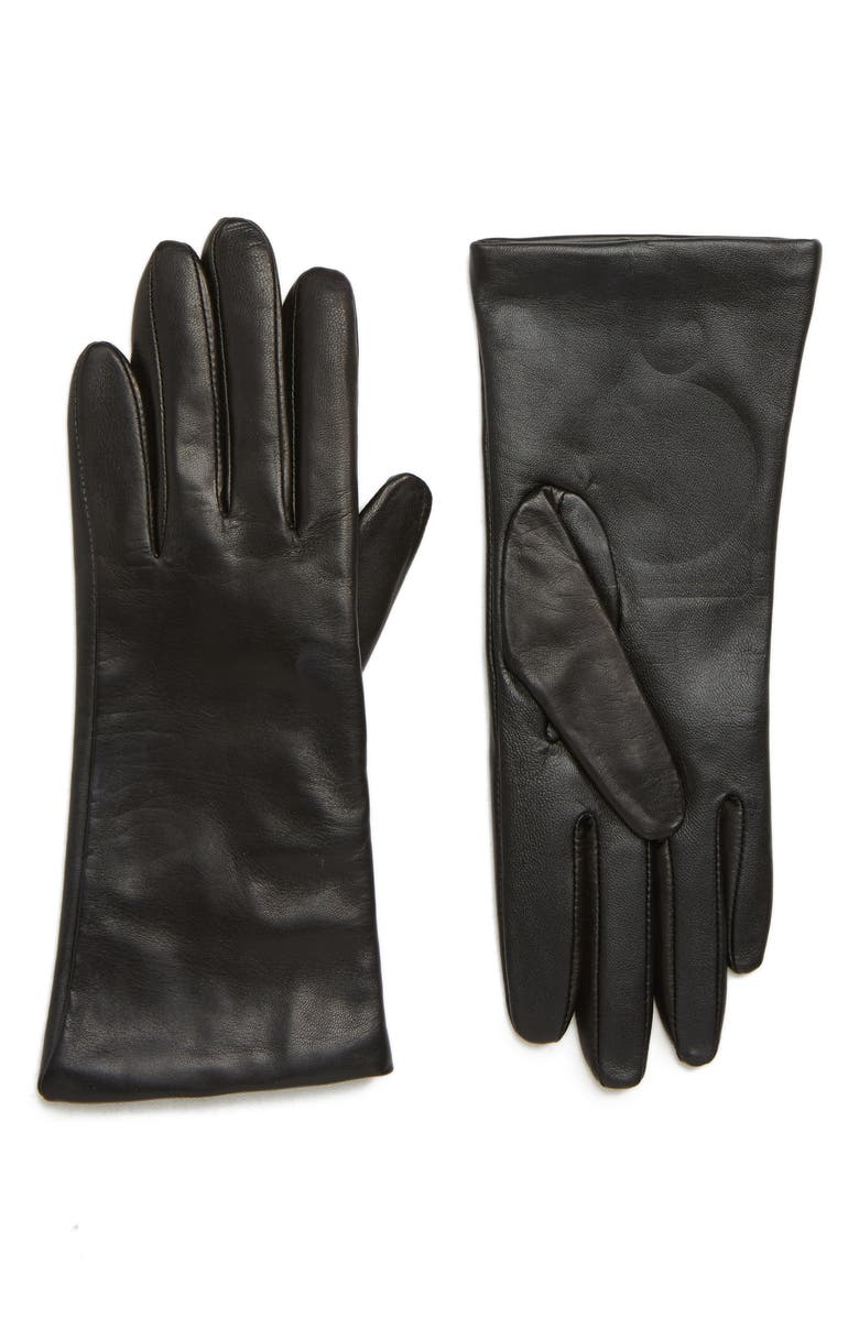 NORDSTROM Cashmere Lined Leather Touchscreen Gloves, Main, color, BLACK