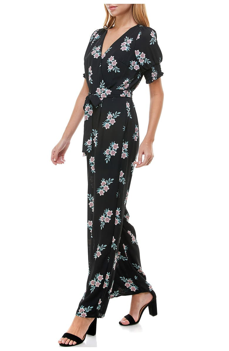 ROW A Floral Smocked Sleeve Jumpsuit, Main, color, BLKSAGE