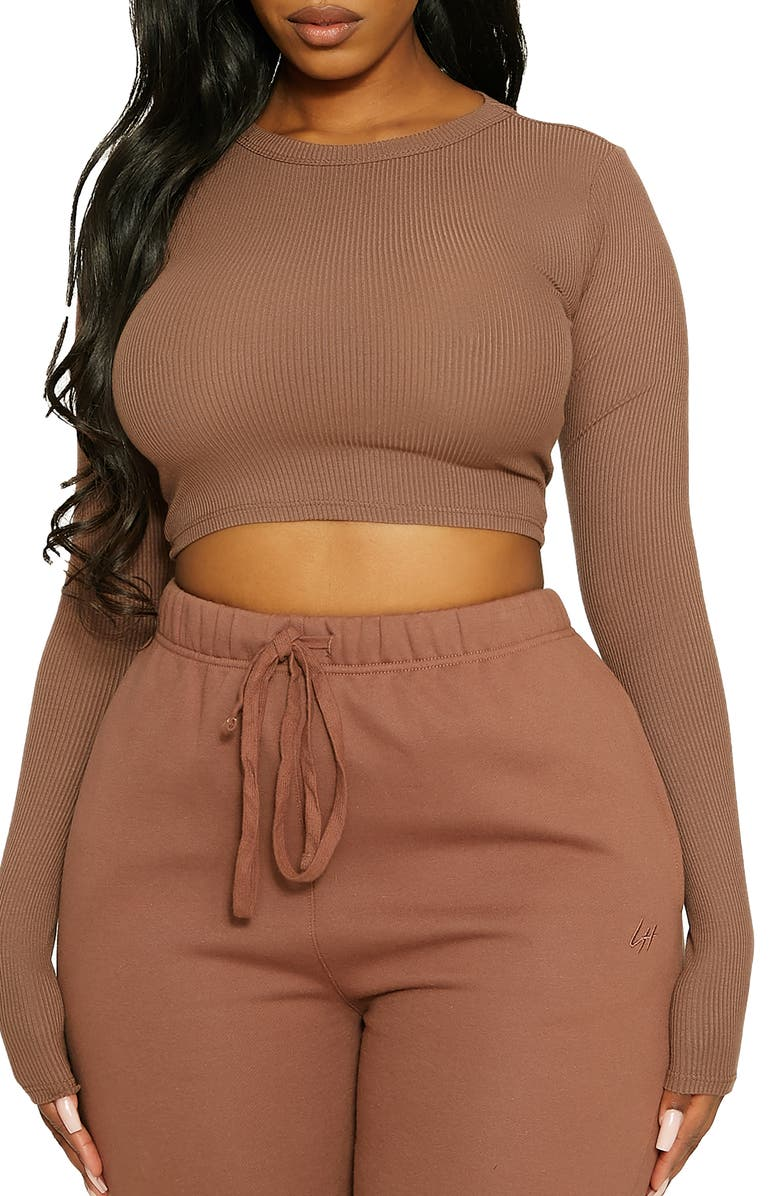 NAKED WARDROBE x Lori Harvey Crewneck Long Sleeve Rib Crop Top, Main, color, MOCHA