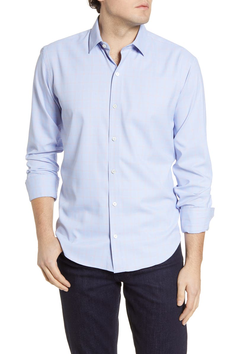 BUGATCHI Shaped Check Button-Up Performance Shirt, Main, color, 422