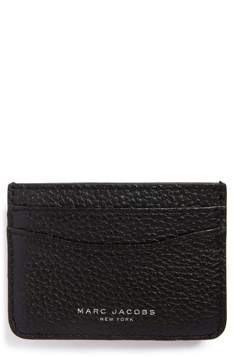 MARC JACOBS 'Gotham' Leather Card Case, Main, color, 001