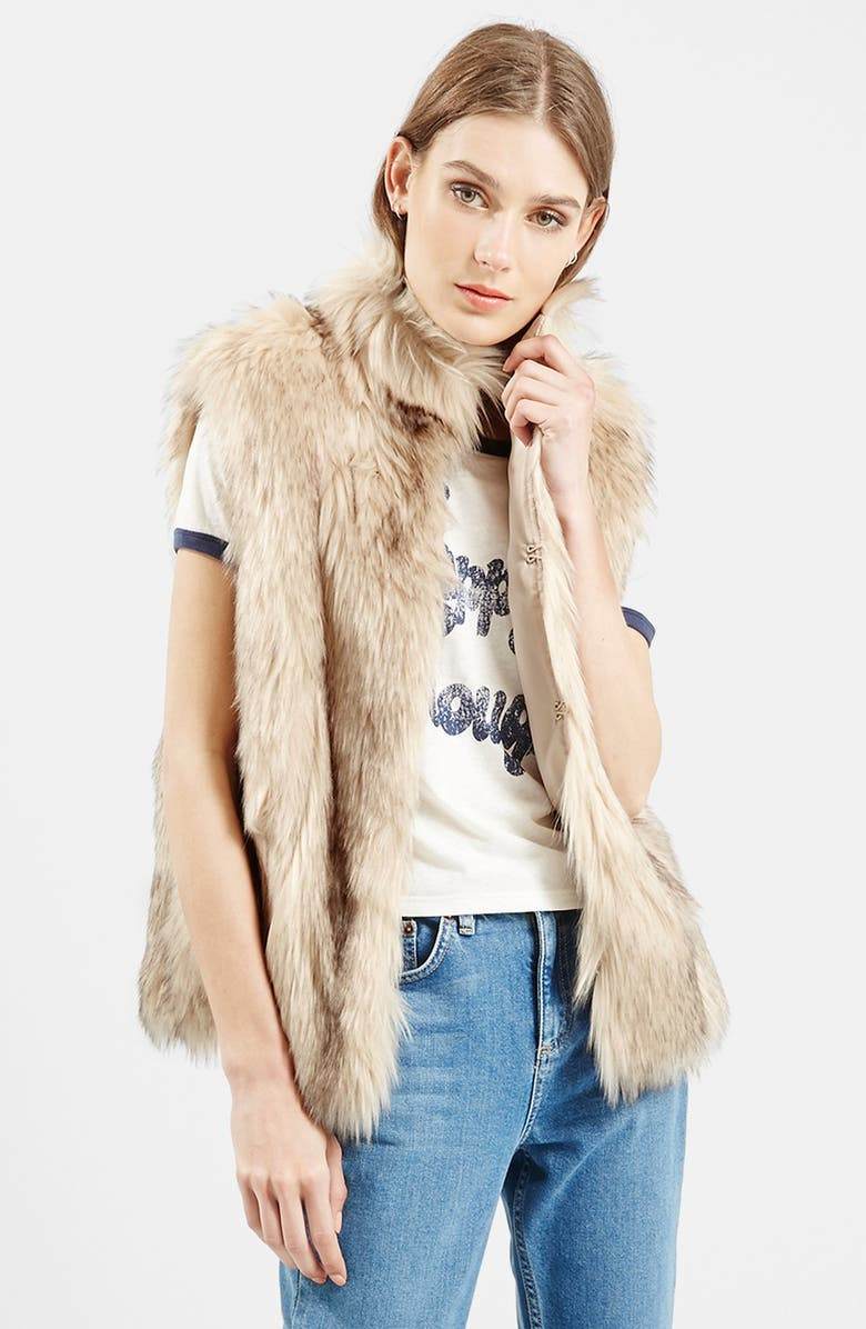 TOPSHOP 'Polo Leah' Faux Fur Vest, Main, color, 900