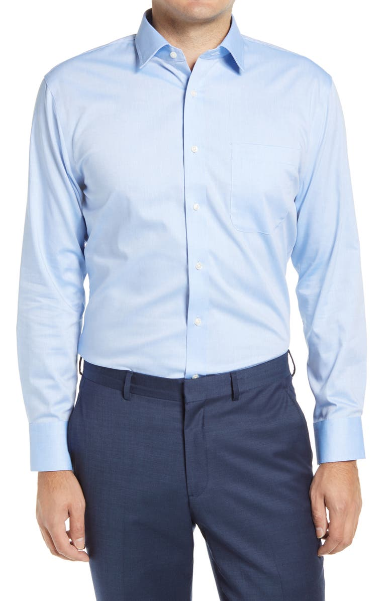NORDSTROM 3-Pack Trim Fit Non-Iron Dress Shirts, Main, color, BLUE AZURITE