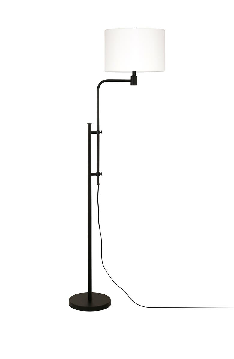 ADDISON AND LANE Polly Height-Adjustable Blackened Bronze Floor Lamp, Main, color, BLACK