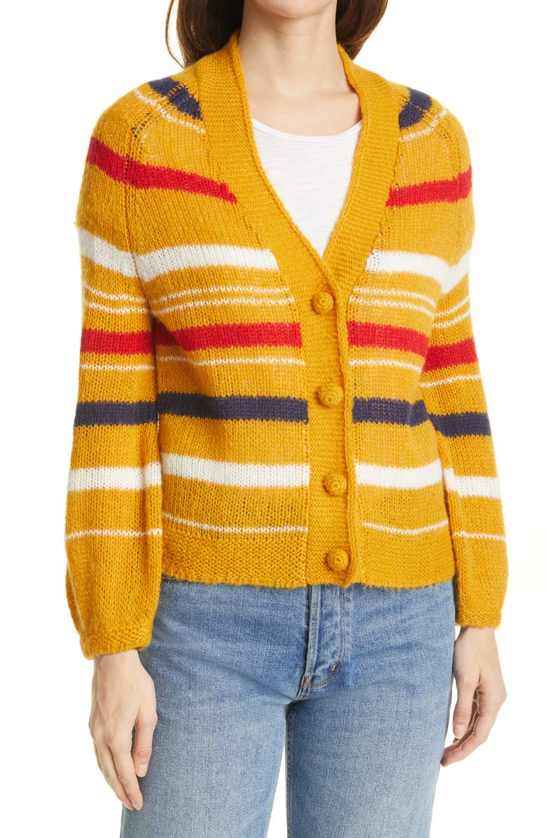 THE GREAT. The Sailing Stripe Cardigan, Main, color, GOLDEN YELLOW STRIPE