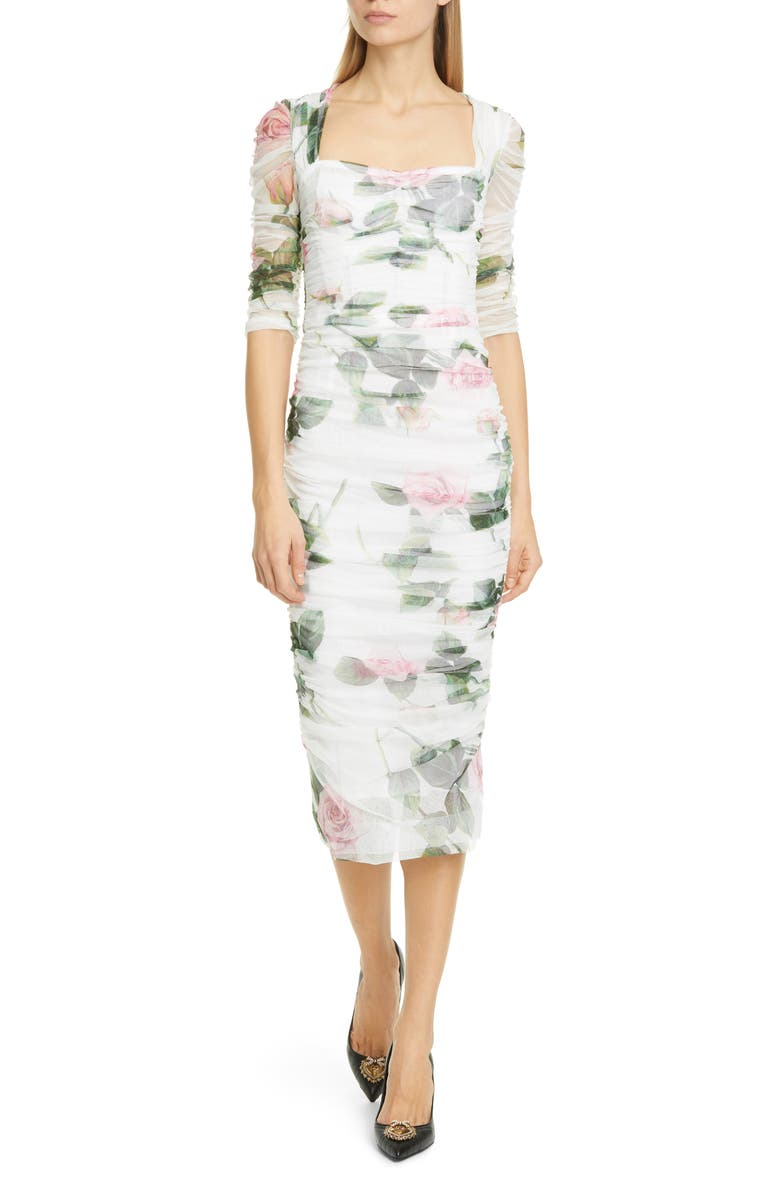 DOLCE&GABBANA Rose Print Ruched Tulle Midi Dress, Main, color, WHITE