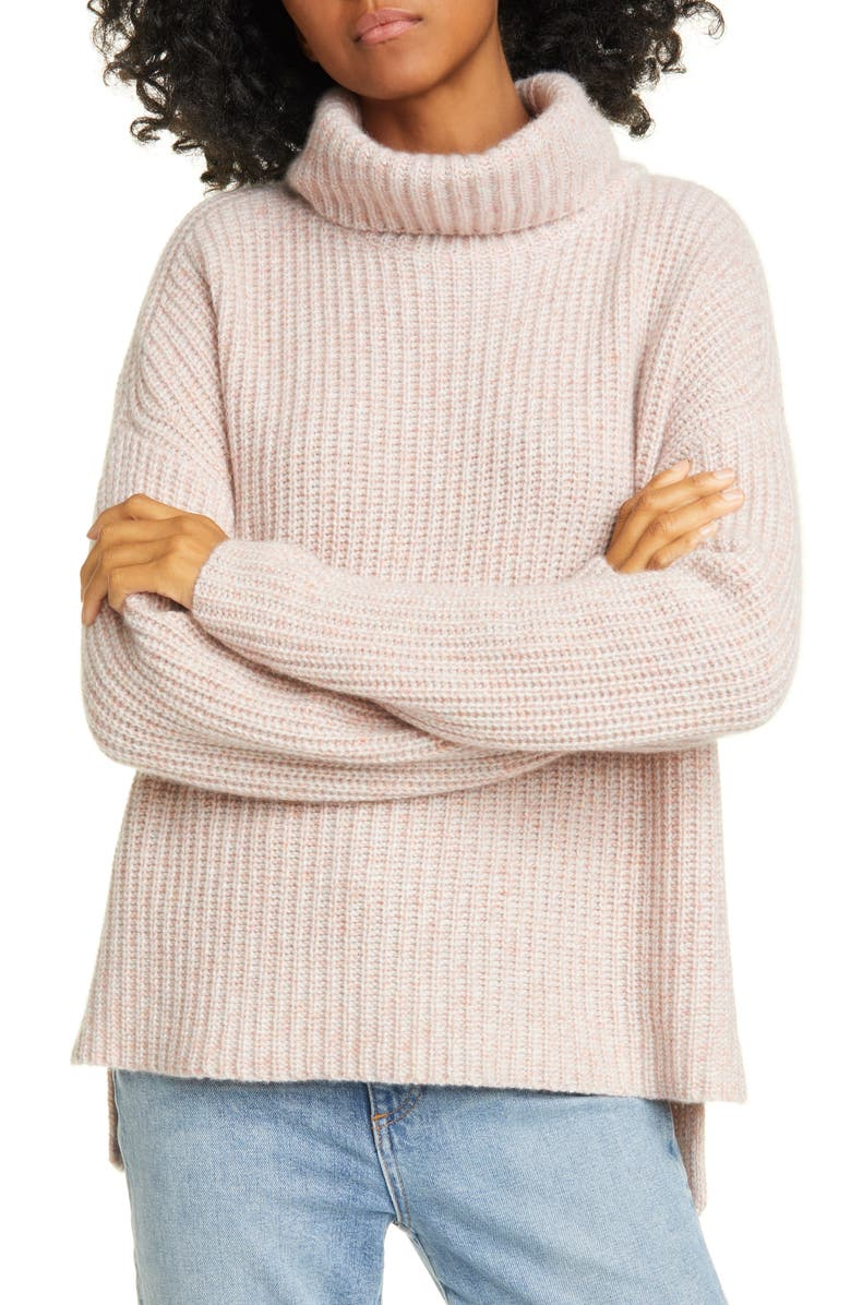 NORDSTROM SIGNATURE Shaker Stitch Roll Neck Cashmere Sweater, Main, color, 680