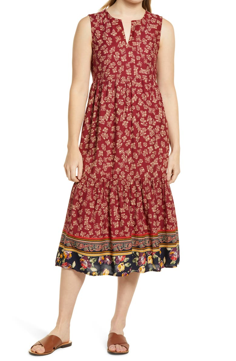 BEACHLUNCHLOUNGE Ireana Tiered Ruffle Midi Dress, Main, color, PROVENCE FLORAL