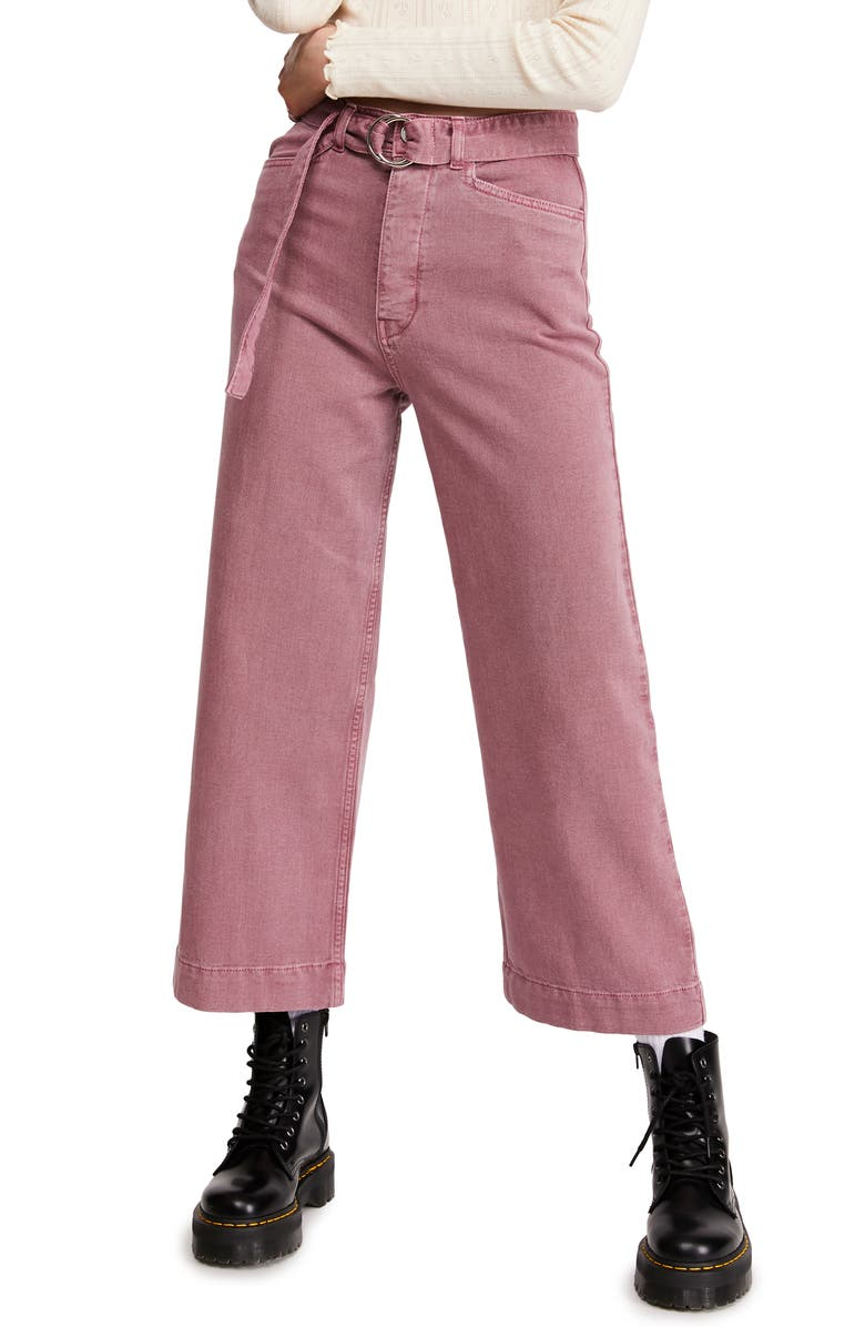 BDG URBAN OUTFITTERS Belted Flood Jeans, Main, color, 650