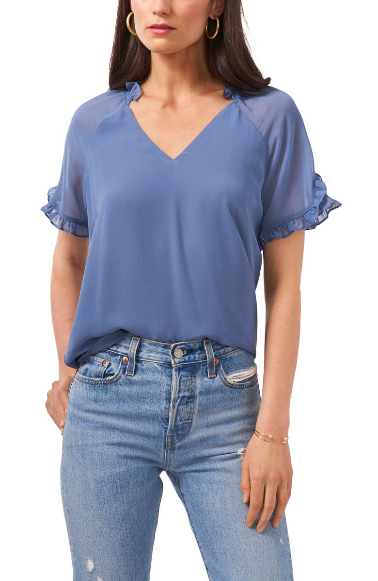 1.STATE Ruffle Sleeve Mixed Media Top, Main, color, BLUE DENIM HEATHER