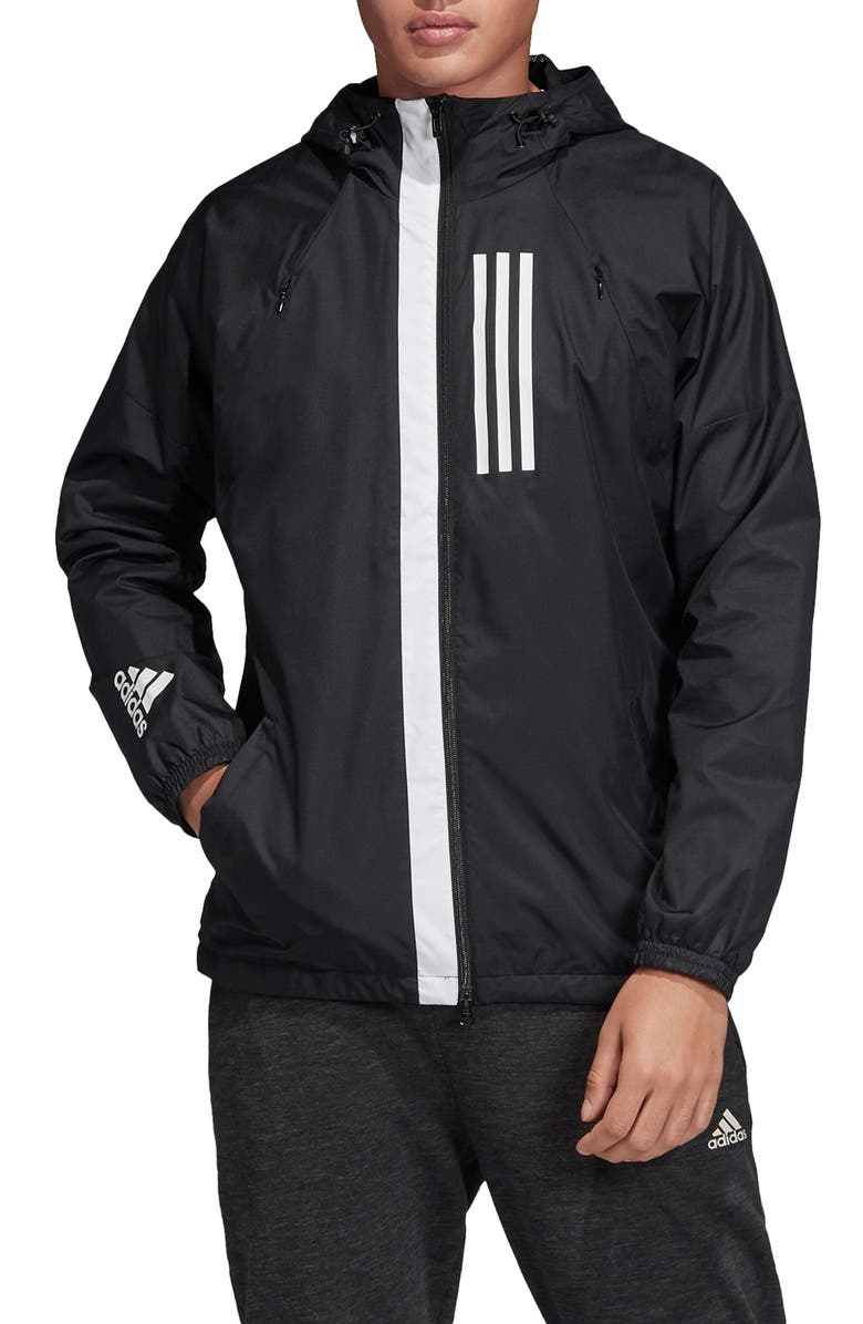 ADIDAS Water Repellent Hooded Windbreaker, Main, color, 001
