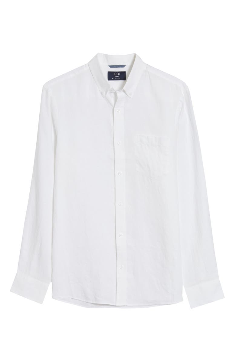 1901 Slim Fit Linen Button-Down Shirt, Main, color, WHITE