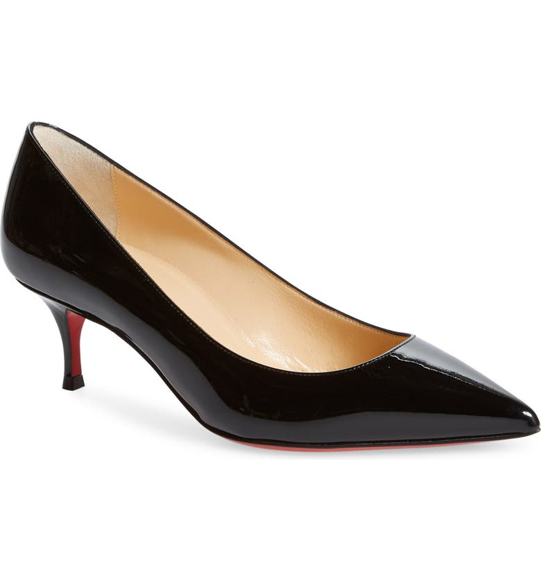 CHRISTIAN LOUBOUTIN Kate Kitten Heel Pointed Toe Pump, Main, color, 001
