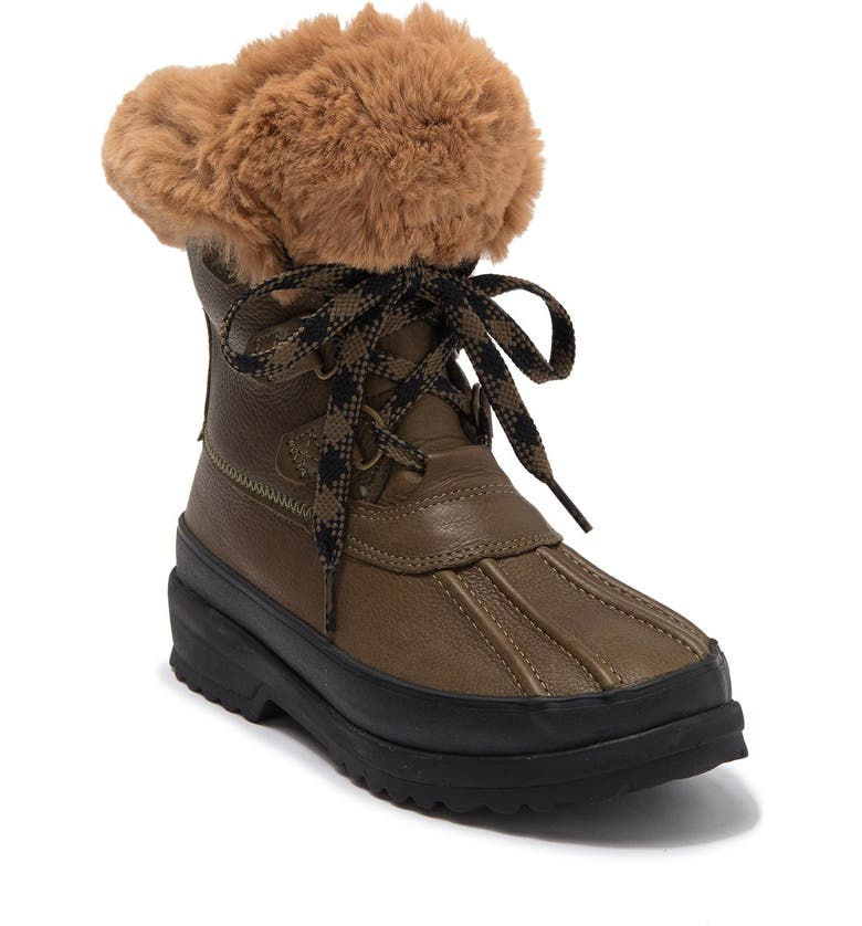 SPERRY TOP-SIDER Maritime Faux Fur Lined Winter Duck Boot, Main, color, OLIVE