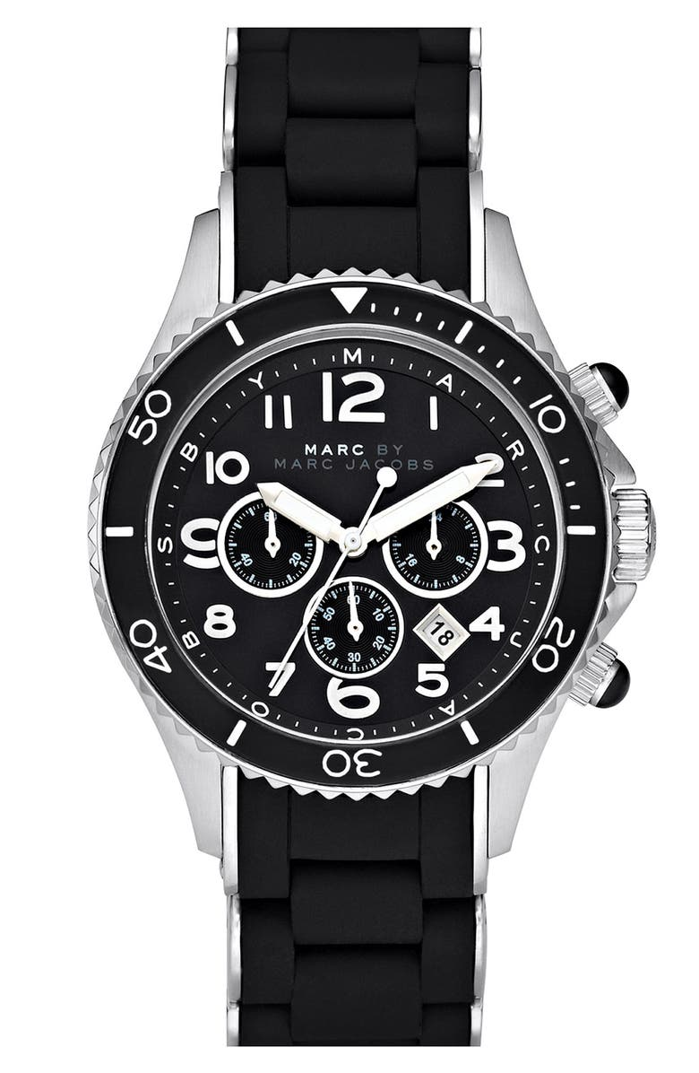 MARC JACOBS 'Rock' Chronograph Silicone Bracelet Watch, 40mm, Main, color, 001