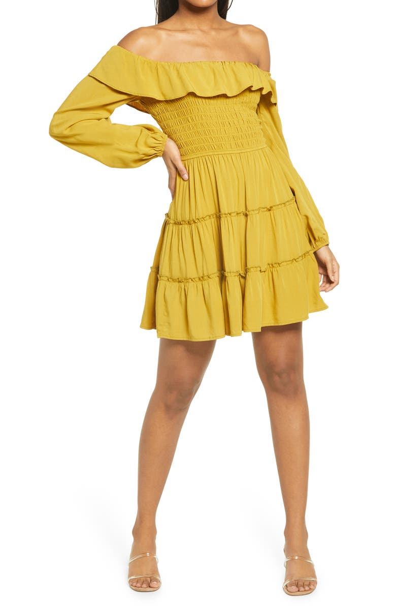 ROW A Off the Shoulder Long Sleeve Smocked Minidress, Main, color, MUSTARD
