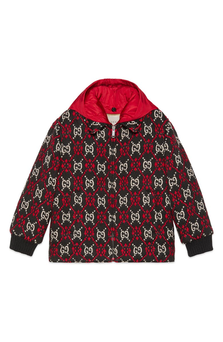 GUCCI GG Logo Hooded Wool Blend Bomber Jacket, Main, color, 012